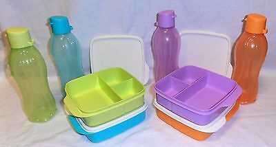 TUPPERWARE DIVIDED SQUARE LUNCH BOXES & Eco Bottles (choice of colours &variety)
