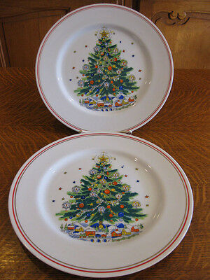 Salem China Christmas Eve Pattern 2 Salad Plates Red And Gold Trim