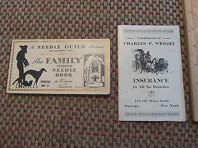 2 antique sewing needles advertising cases oswego new york