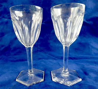 "PAIR FRENCH BACCARAT CRYSTAL COMPIEGNE PORT WINE GLASSES 5 3/4"" 14.5cm"