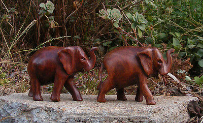 "Elephant Statue Wood Carving Set of 2 Safari Jungle Decor 6-1/2"" x 4-1/2"""