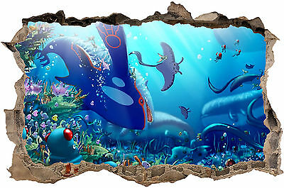 Underwater Pokemon  Smashed Hole In Wall Art Decal
