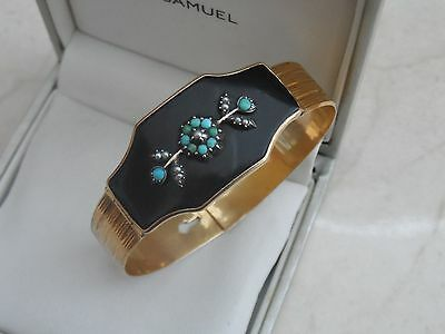 Victorian Antique 9ct rolled Gold Seed Pearl Turquoise Jet MOURNING bangle 20gr