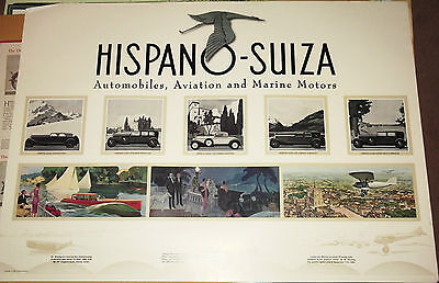 Stunning 'Hispano - Suiza' Advertising Poster.  1920's.  840mm x 595mm.
