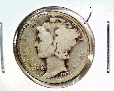 1921 Mercury Dime About Good Condition Key Date Free U.S. Shipping