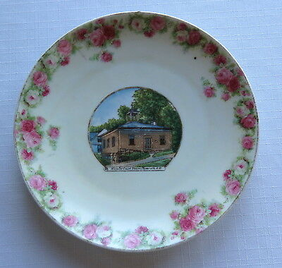 """Victorian Era Souvenir China - Webster Court House Plymouth, N.H. 7"""" Plate."""