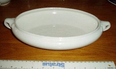 White Oval Serving Bowl. Large 26cm x 18cm x 5.5cm. Vintage