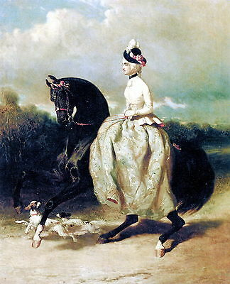 Print c19th Victorian Woman Equestrian Horse Riding Costume Side Saddle Mount