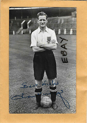 Original Old Photo Tom Finney Football Preston North End Fc & England Signed