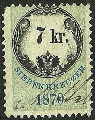 AUSTRIA 1870 VF Used The general revenue fourth issue stamp 7kr.