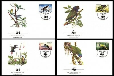 Dominica WWF Birds of the Caribbean 4 official FDCs