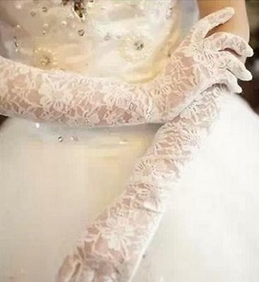 Ladies White/ Black Red Long Stretchy Lace Wedding Party Evening Prom Gloves8