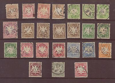 Germany, Bavaria, a selection of 24 used stamps, G/FU, 1876 - 1901