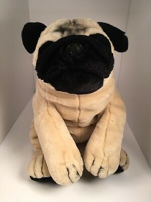 "FAO Schwarz Pug Dog Plush Large 18"" Long Stuffed"