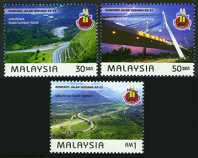 Malaysia 745-747, MNH. World Road Congress. Ramp, Bridge, Interchange, 1999