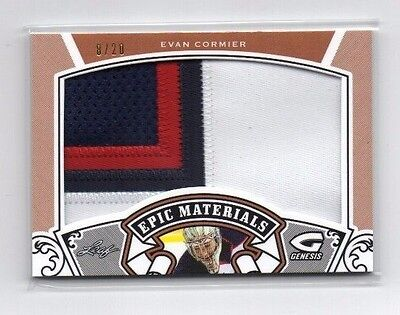 Evan Cormier 2015-16 Leaf in The Game, Genisis, Epic Materials, (Patch), 8/20 !!