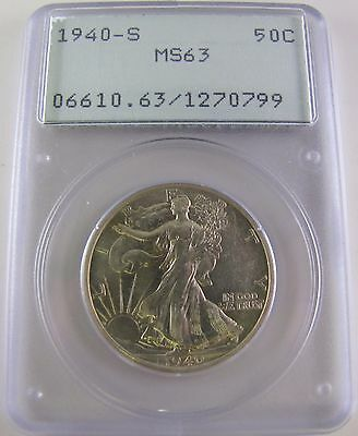 1940 S Walking Liberty 50C PCGS MS63 Silver Coin