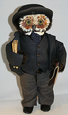 """Vintage Jungle Toys London Owl Company Businessman 17"""" Tall Excellent Condition"""