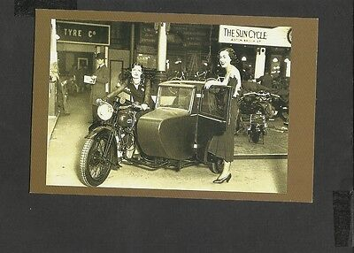 Nostalgia Postcard Olympia Motorcycle Show BSA the  Latest in sidecars 1930