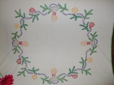 Vintage German Christmas Hand - Embroidered Table Runner Tablecloth