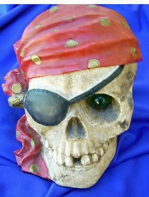 Pirate Skull Coin Bank With Red Bandana & Green Glass Eye - Great Creepy Detail