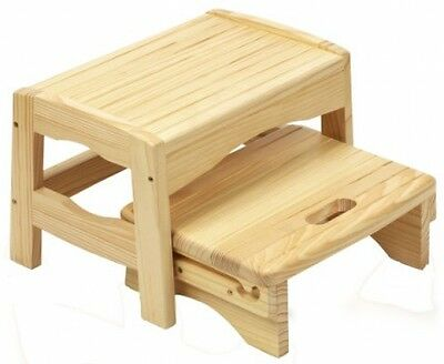 Safety 1st Solid Wooden 2 Step Stool Natural Child Hand Made Two Levels Tabouret