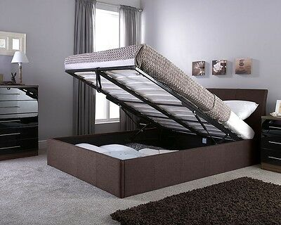 Seattle end Lift Ottoman Bed  Double  Black/ Brown - Faux Leather NEW AND BOXED