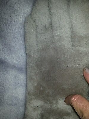 vintage thick fur gloves silver grey