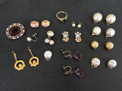 Collection Job Lot Of Costume Jewellery Faux Pearl Cameo Earrings Brooch Clip On
