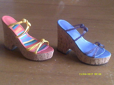 2 JUST THE RIGHT SHOE- COLLECTIBLE SHOES BY RAINE Cork Wedge/Tangerine