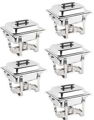 5 Pack Catering Stainless Steel Chafer Chafing Dish Set 4 Qt Half Size Buffet