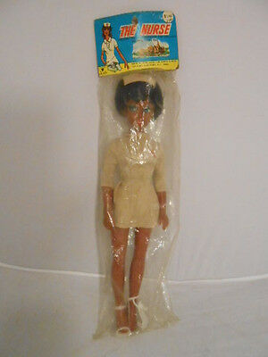 """Vintage Nadel & Sons Toy Corp """"The Nurse"""" Doll African American 15"""" Plastic NOS"""