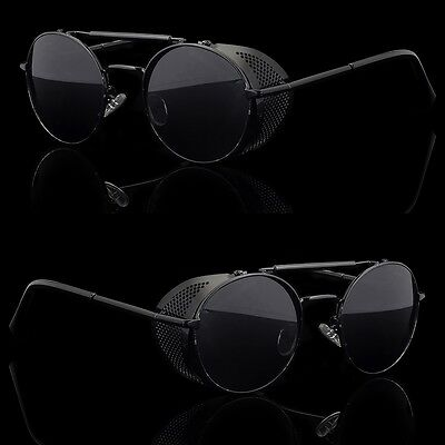 Black Vintage Retro Steampunk Gothic Side Shield Hipster Round Sunglasses b