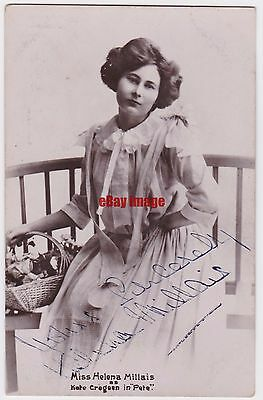 Stage actress Helena Millais in costume. Signed postcard