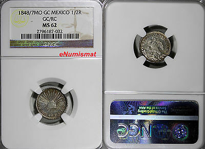 Mexico Republic Silver 1848/7 Mo GC/RC 1/2 Real NGC MS62 OVERDATE  KM# 370.9