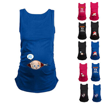 Funny Baby Print Womens Maternity Pregnant Sleeveless T-shirts Loose Cotton Tops