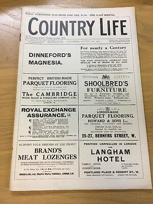 Vintage Country Life Magazine August 21St 1915