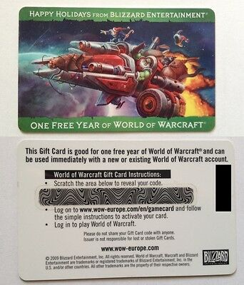 World of Warcraft subscription game time gift card 1 year EU servers