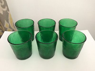 6x Vintage Green Coloured Glass Tumblers - 8cm