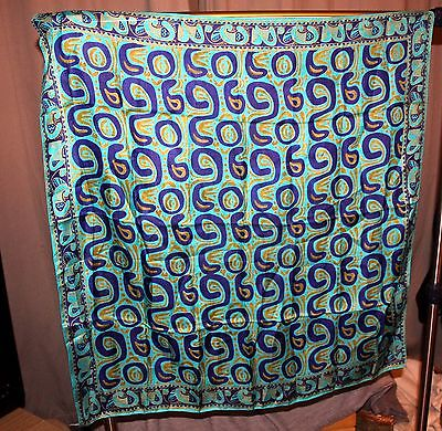 Handwoven 100% Pure silk Blue patterned scarf