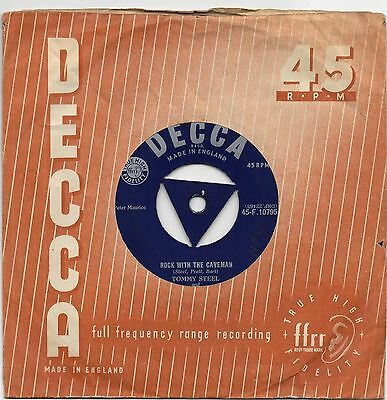 """TOMMY STEELE - ROCK WITH THE CAVEMAN 7"""" 45 VINYL RARE UK TRI CENTRE Rockabilly"""