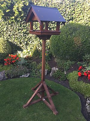 Large Sturdy Handmade Wooden Slate Roof Bird House / Feeder / Table With Stand