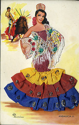 Vintage Artist signed attractive silk embroidered postcard Andalucia Elsi Gumier