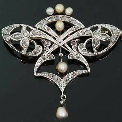 VICTORIAN 1.95ct ROSE CUT DIAMOND & PEARL BROOCH, Free Shipping worldwide