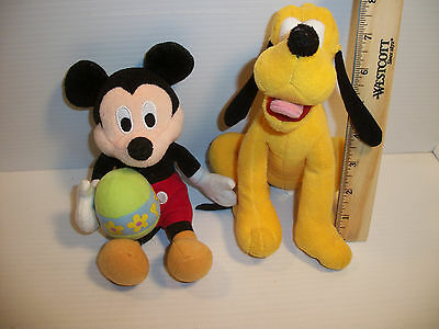 "Lot of 2 Disney Plush 9"" Mickey Mouse With Easter Egg and 8"" `Pluto Dog"
