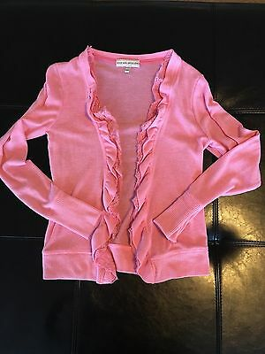 Poof Girl Excellence Pink Lightweight Cardigan Size M 10/12