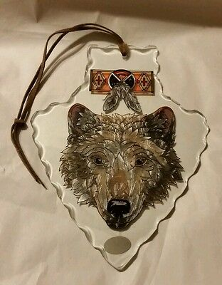 "Coyote Glass Arrowhead ""AMIA""Hand Painted Stained Glass, Decorative COLLECTABLES"