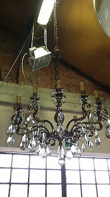 Antique French Louis XVI style Gilt Bronze pair of Chandelier crystal 12 Light