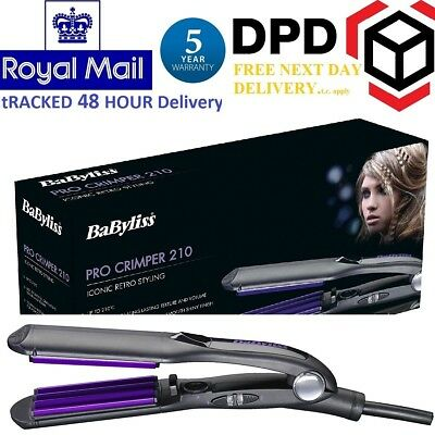 New Babyliss 2165 Pro Ceramic Hair Crimping Styling Curling Iron Crimper Styler