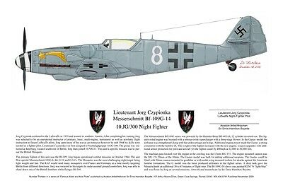 Famous Luftwaffe Bf-109 Signed by Pilot, Aviation Art, Ernie Boyette